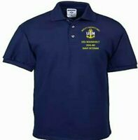USS ROOSEVELT  DDG-80  NAVY ANCHOR  EMBROIDERED LIGHT WEIGHT POLO SHIRT