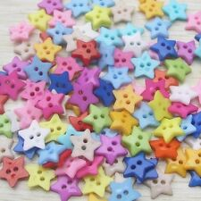 100X Baby Kid Mixed Colors Resin Cute Pentagram Star Buttons Sewing Crafts AUD