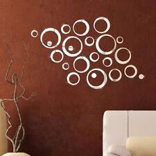 24Pcs Circles Mirror Stlye DIY Removable Decal Vinyl Wall Sticker Home Decor