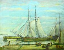 *19th/20th Century, American School O/C Docked Schooner Signed A.FREDERICK