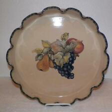 "Home & Garden Party 13"" Pie-Quiche-Chips Dish FRUIT Taupe-Green Stoneware U.S.A."