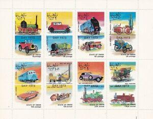 oman bloc 8 timbres oblitérés 1er jour 1973