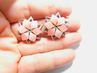 Pink Thermoset Silver Tone Metal Star Flower Clip On Earrings Vintage