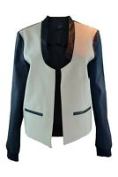 TIBI Virgin Wool Blend Black White Open Front Jacket (M)