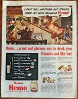 Borden's Hemo ad 1943 orignal vintage print 1940s art  illus. Elsie cow mascot