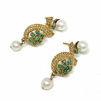 Antique Victorian 14K Gold Estate Drop Dangle Seed Jade with Pearl Earrings