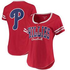 5th & Ocean by New Era Philadelphia Phillies Red Women's Slub Henley T-Shirt