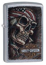Zippo HARLEY DAVIDSON Street Chrome Skull & Logo 60003488 NEU+OVP