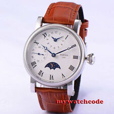 42mm parnis white dial fluted bezel Roman GMT hand winding movement mens watch