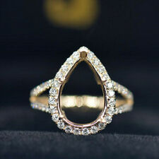 Solid 14KT Yellow Gold Natural Diamond Split Shank Ring Semi Mount Pear 10x14MM