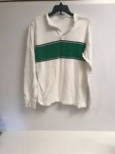 vintage champion green stripe long sleeve quarter button shirt medium