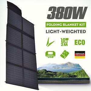12V 380W Folding Solar Mat Black Silicon Blanket Flexible Solar Panel Kit Charge