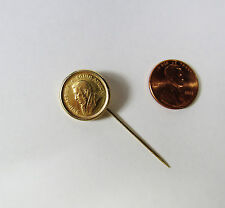 Genuine Authentic 1/10 Oz 999 FINE GOLD 1981 Krugerrand Coin in 14K Stick Pin