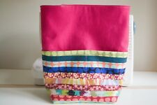 Handmade Project Bag - Pink Linen - Scrappy - Magnetic Clasp - Knitting, Crochet