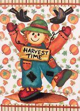 "Harvest Time Scarecrow House Flag 28""X40"" Fall Pumpkin Decorative Designer flag"