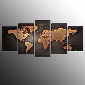 FRAMED Canvas Art Prints Brown World Map Wall Art Canvas Painting Print-5pcs