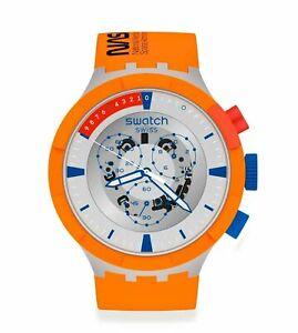 Swatch NASA LAUNCH BIG BOLD CHRONO Grey Dial Rubber Band Men's Watch SB04Z401