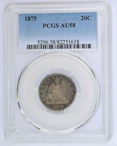 1875 Twenty Cent Piece PCGS AU58 20c Type Coin Low Mintage - No Reserve!