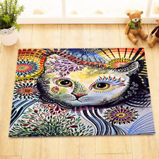 "Color Painted Floral Cat Non-Slip Bathroom Mat Rug Home Decor Door Carpet 24x16"""