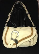 Christian Dior Large Gaucho Creme Distressed Leather Saddle Bag