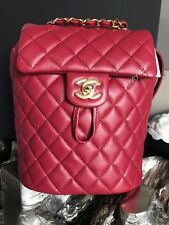 2b4bb1e6a428 NWT CHANEL URBAN SPIRIT BACKPACK RED BURGUNDY CALF CALFSKIN GOLD TRAVEL  2018 18K