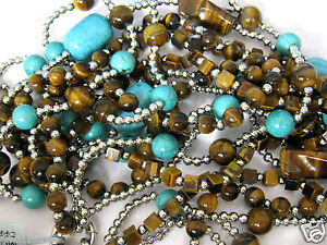 "600 Carat Tiger Eye and Turquoise Howlite Beaded 5-Strand Necklace 22"" Long"