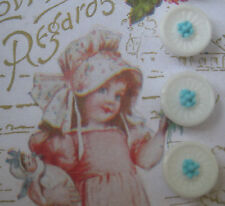 "Set of 6 Vintage 1/2"" White Aqua Flower Glass Buttons~Pre WWII ~1920"