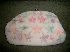 vintage JOSEF purse handbag clutch hand beaded in Japan floral beads