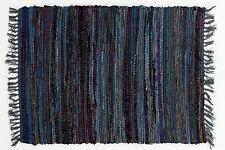 Sturbridge 4' x 6' Cotton Rag Throw Rug in Denim Blue, Hand Woven