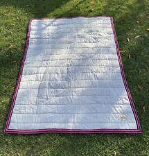 Ralph Lauren University Hot Pink & Gray Flannel Crest Blanket DORM ~ Twin