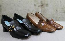 Lot of 2 Pr. 1970s Womens Shoes Pumps Chunky Heel Retro Mod