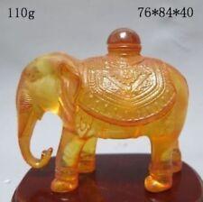 Decorated Wonderful Handwork resin Amber Carving Elephant Statue Ornament Bottle