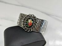 Lovely Vintage Wide Cuff Bracelet with Floral Motif  Signed EMMONS Jewellery