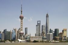 SHANGHAI DAY SKYLINE CITYSCAPE POSTER STYLE B 24x36 HI RES