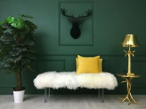 White Real Sheepskin Fluffy Furry Acrylic Hooves Bench Ottoman Bedside Chair