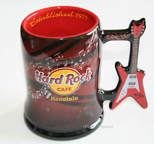 Hard Rock Cafe HONOLULU Hawaii BEER STEIN MUG RED Guitar Handle LOGO Bar Glass