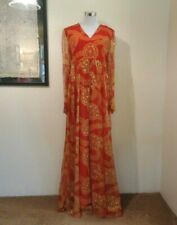New listing 60s Bohemian Sheer Red Gold Metallic Embroidered Empire Waist Formal Maxi Dress