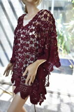 Lim'S Vintage Cotton Hand Crochet Kaftan Dress or Tunic Wine Fits To Most