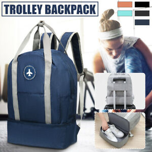 Foldable Travel Bag Waterproof Trolley Backpack Rucksack Luggage With Shoe Case