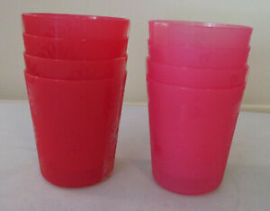 Lot of 2 Sets of 2 Plastic Glasses 4 12-oz Select Red Floral or Pink Flamingo
