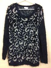 Joseph A Fuzzy Black & Beige Eyelash Sweater Size M Ultra Soft Pullover