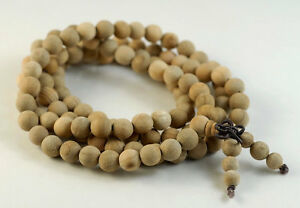"8mm 108PCS Natural Aromatic Indian Sandalwood Mala Meditation Beads Round 33"""