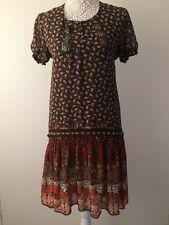 Ladies Rare Brown Orange Paisley Peasant Chiffon Embellished Dress - Size 8