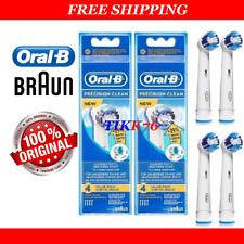 8 GENUINE BRAUN ORAL-B PRECISION CLEAN (+29%) TOOTHBRUSH BRUSH HEADS EB20-4 3 2