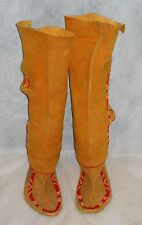 "MOCCASINS, KNEE HIGH NATIVE AMERICAN ""YUROK"" SUEDE W/BEADS, UNFINISHED PROJECT!"
