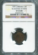 1909 Great Britain Farthing, 1/4 Penny, Blackened At Mint, NGC VF 35 Brown.