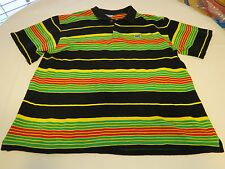 LaCoste 10 polo knit short sleeve polo shirt Mens gator black striped adult EUC@