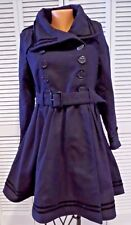 NWT Womens Hell Bunny Millie Sailor Anchor Coat Navy Blue Button Belt Size Small