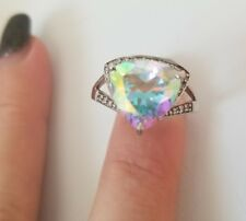 NEW Huge Rainbow Topaz .925 Sterling Ring 2.92CT Trillium Cut Large Size 10