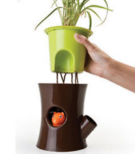 HOME&GARDEN CUTE QUALY GENUINE BROWN LOG&SQUIRREL SELF WATERING PLANT POT